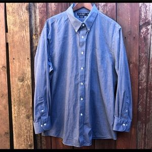 LAUREN Ralph Lauren blue slim fit non iron shirt